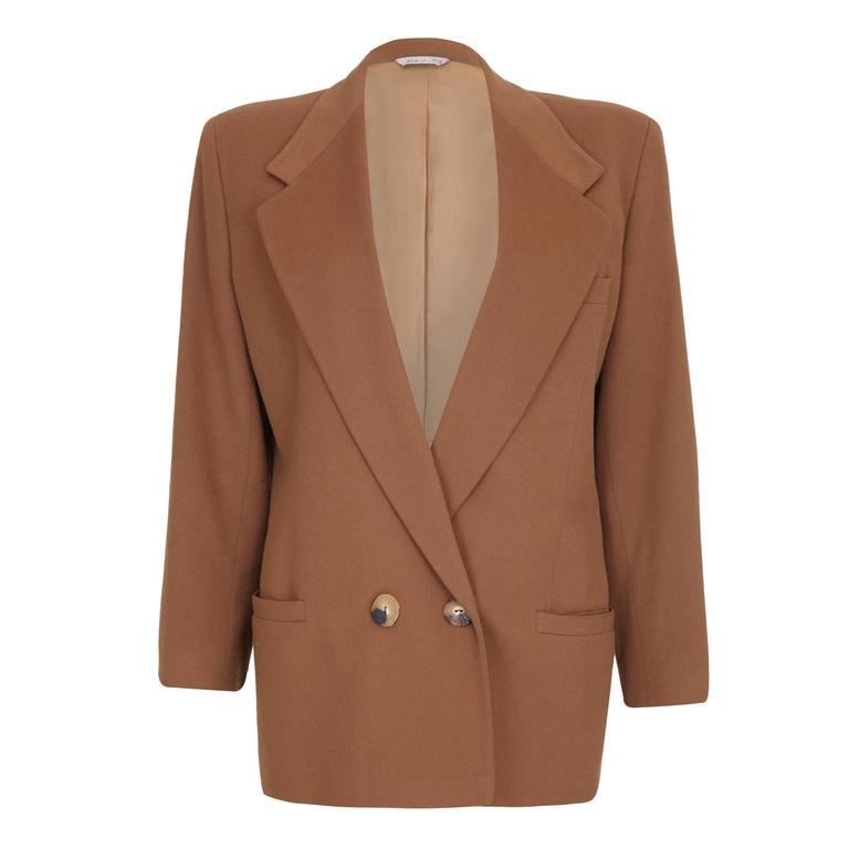 1980s Gianni Versace Camel Wool Boyfriend Jacket  For Sale