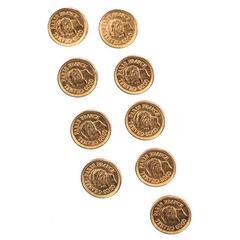 Chanel Vintage Gold Engraved CC Charm 15-Piece Set of Buttons Button Set