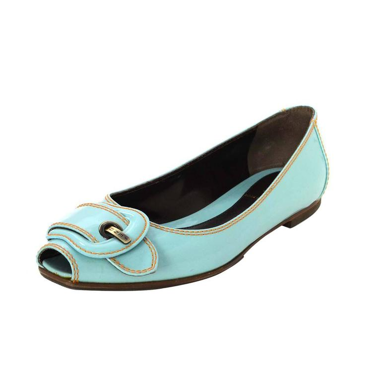 Fendi Light Blue Patent Peep-Toe Flats sz 37.5 For Sale