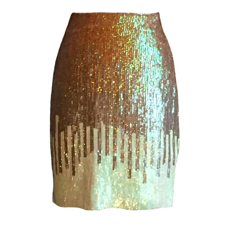 Versace Gold and Pale Lime Sequin Pencil Skirt with Tags For Sale