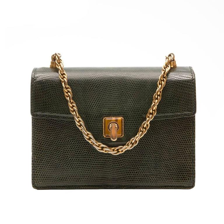 Gucci Vintage Lizard Skin Handbag For Sale