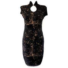 Subtle Classic CHANEL Black and Gold Chenille Chinese Cheongsam Inspired Dress