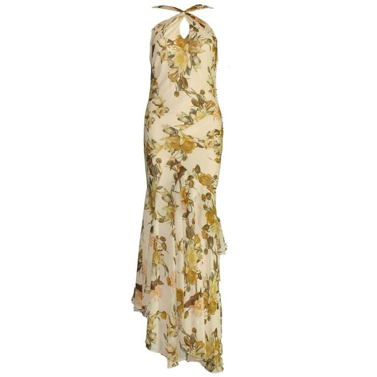 Christian Dior Floral Silk Evening Gown with Matching Stola Shawl