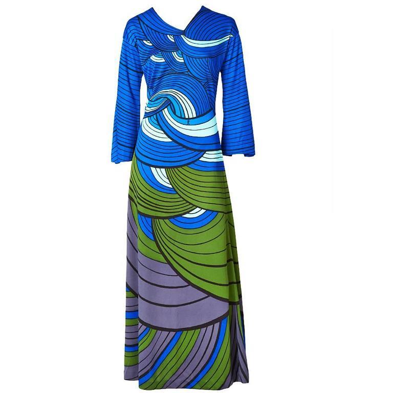 Roberta di Camerino Graphic Print Jersey Maxi Dress For Sale