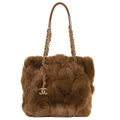 RARE Chanel Jumbo Fur Shoulder Bag in 'Chataigne' with Camel Leather Trim