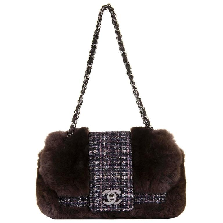 WOW! Chanel Limited Edition 28cm Fur & Tweed 'Sac Classique'  by Karl Lagerfeld 1