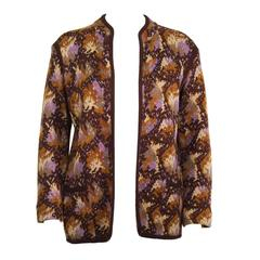 1980's Yves Saint Laurent YSL Brown Intarsia Knit Cardigan