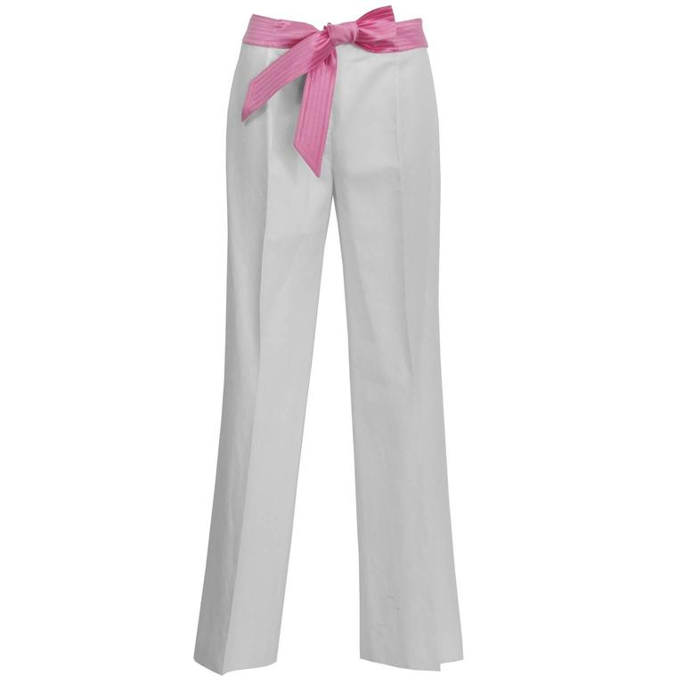 1990's Valentino Cream Linen Trousers with Pink Ribbon Belt