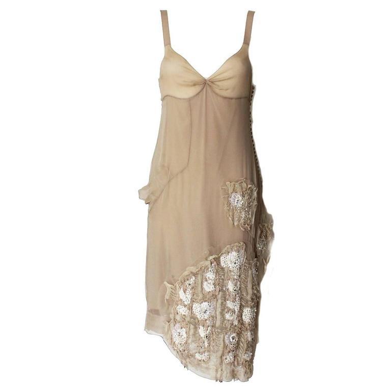 Gorgeous Christian Dior Fairytale Powder Nude Silk Dress as Haute Couture
