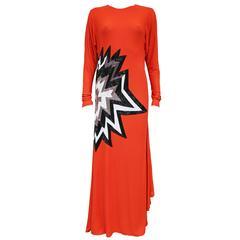 Tom Ford embellished pop art inspired coral evening dress, c. 2013