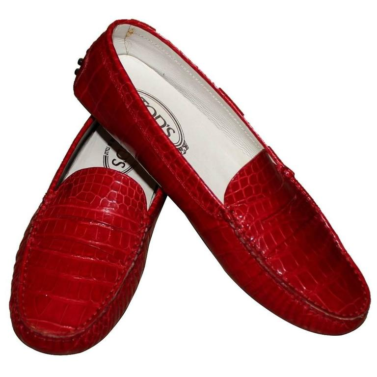 Exotic Tod's Cherry Red Gommino Moccasins Loafers  Alligator Crocodile Skin For Sale
