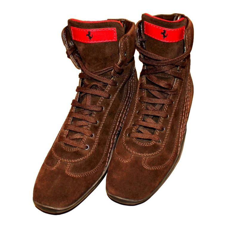 Tod S For Ferrari Brown Suede Driving Boots Sneakers At