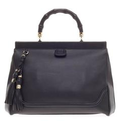 Gucci Bold Bamboo Top Handle Bag Leather