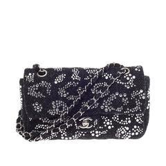 Chanel Classic Single Flap Rhinestone Embellished Tweed Medium