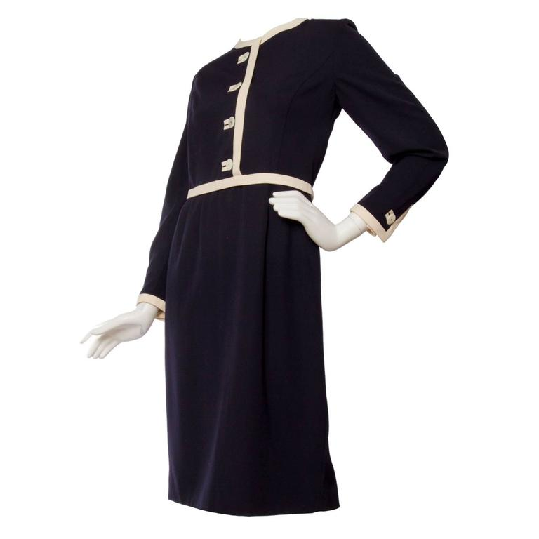 1980s Valentino Navy Wool Day Dress