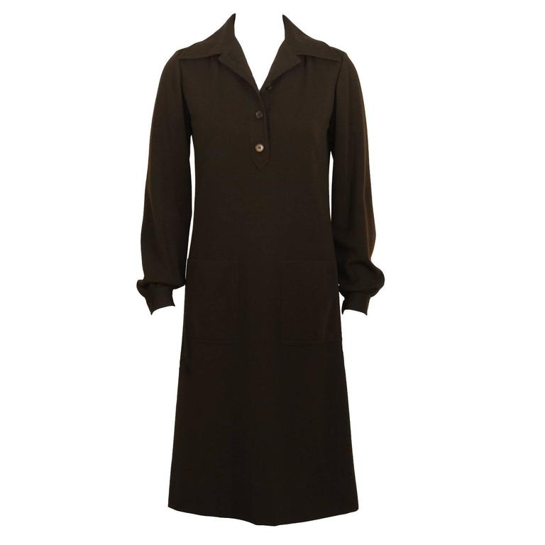 1970's Yves Saint Laurent YSL Brown Wool Day Dress For Sale