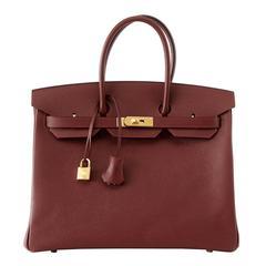 Hermes Contour Rouge H Navy Edging Gold Hardware Limited Edition Birkin 35 Bag