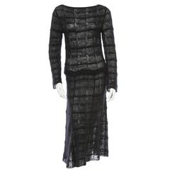 Chanel Black Glitter Mohair Blend Long Sleeve Cocktail Evening Gown Dress