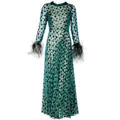 1970s CARDINALI green silk dress with velvet dots