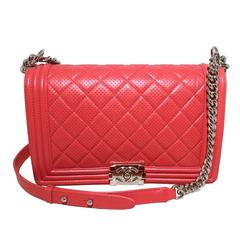 Chanel Cherry Red Perforated Leather Classic Flap Boy Bag