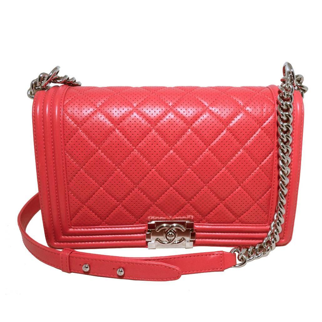 Chanel Cherry Red Perforated Leather Classic Flap Boy Bag For At 1stdibs