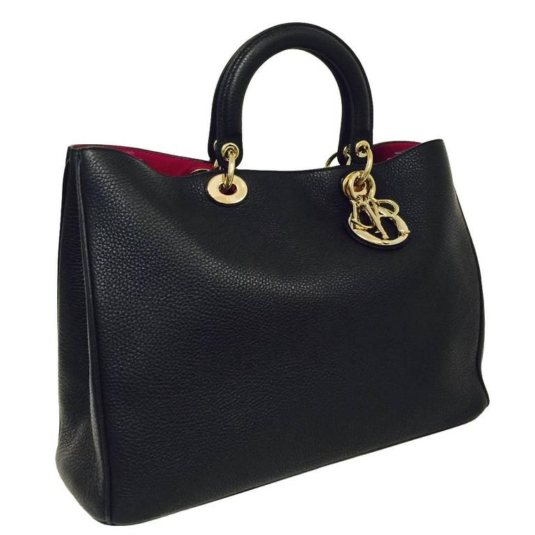 ef270a58340a Christian Dior Large Lady Dior Diorissimo Tote in Black Bullcalf Leather  For Sale