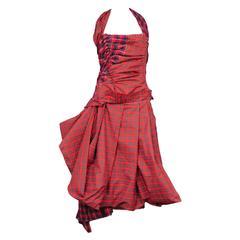 Comme Des Garcons Red Tartan Party Dress