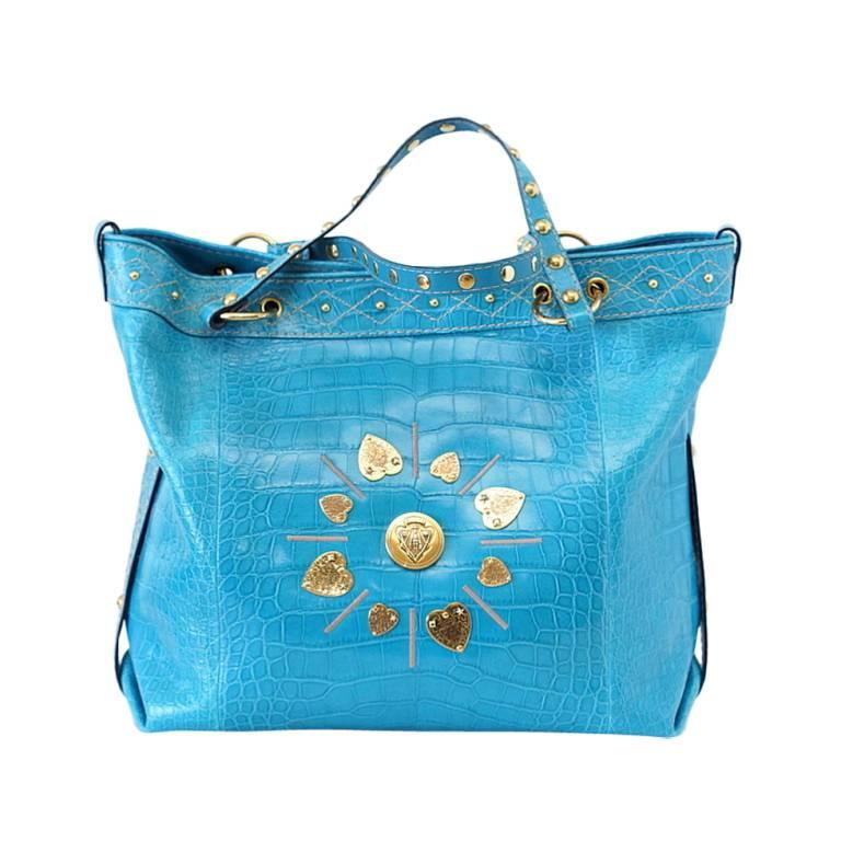 Gucci Exclusive Limited Edition Turquoise Crocodile Irina Tote Bag New For Sale 8