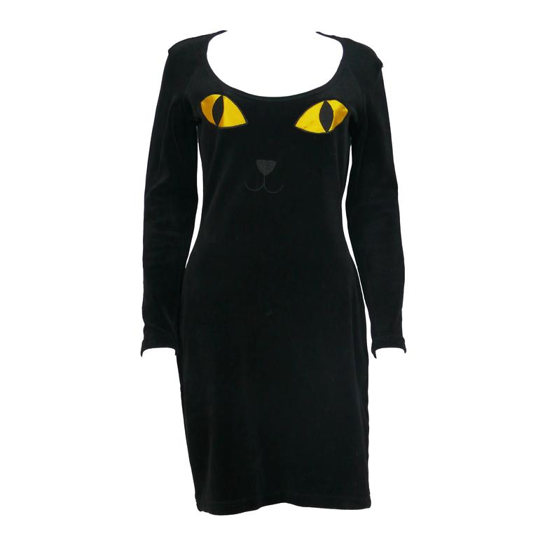 "Moschino Vintage ""Cat Eyes"" Black Velvet Dress 1990s"