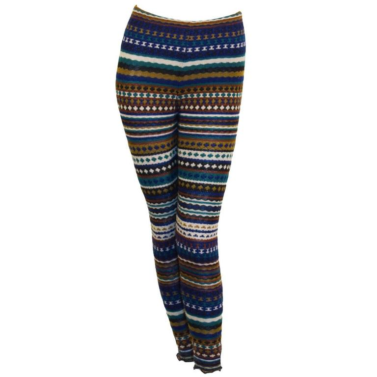 1980's Missoni Blue  and Olive Knit Striped Legging