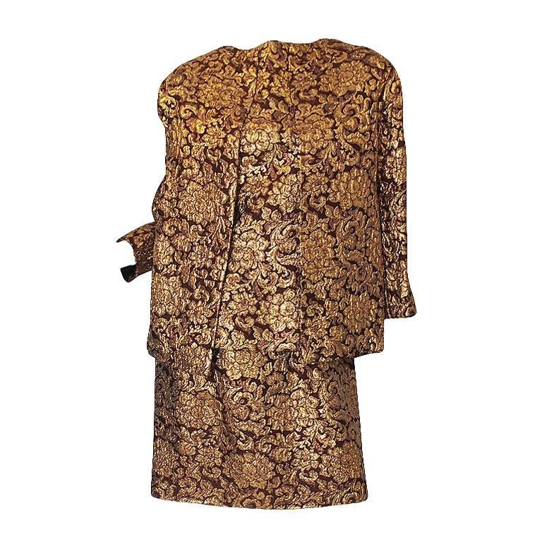 1960s Christian Dior Numbered Gold Silk Brocade Dress Suit