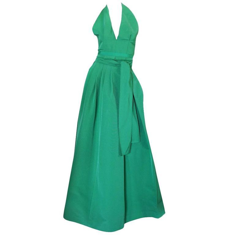 1960s Pauline Trigere Backless Structured Halter & Skirt Dress Set 1