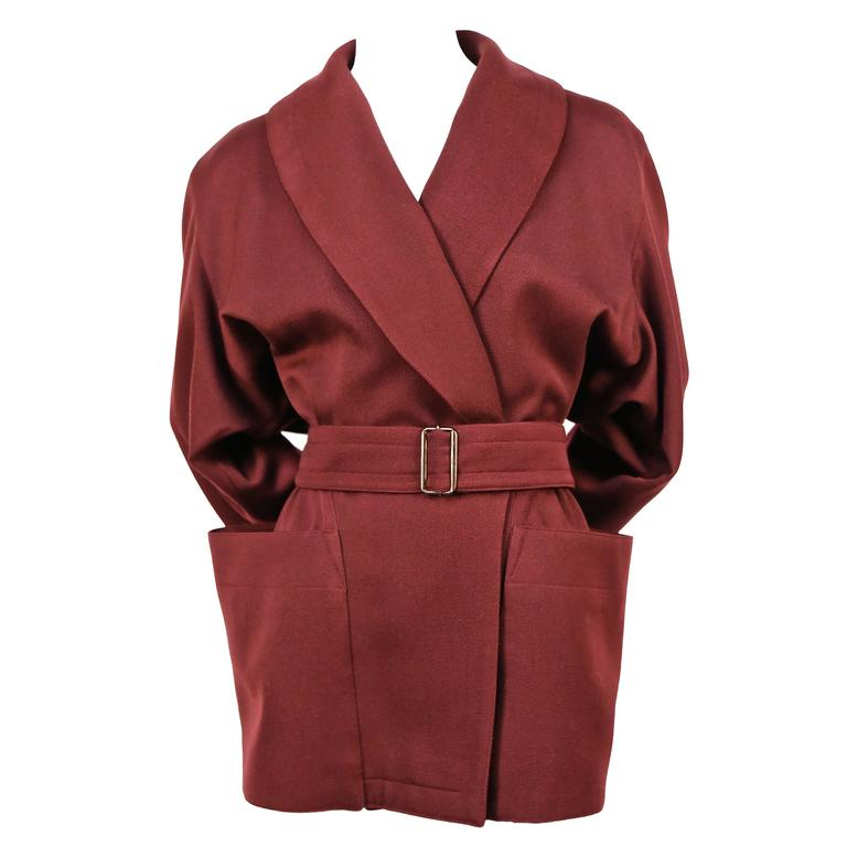 1980's AZZEDINE ALAIA burgundy gabardine coat with wrap around pockets