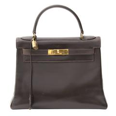Vintage Hermes Dark Brown Kelly 28 GHW