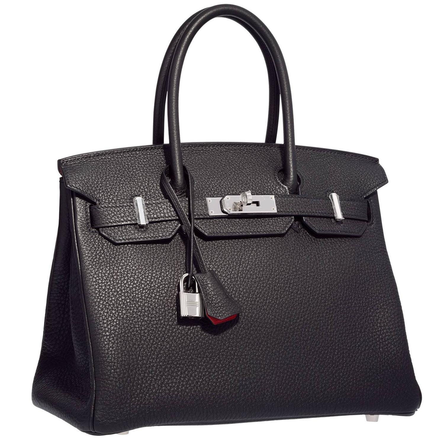 4f11fdf2317 Hermes 30cm Black and Rouge H Togo Leather Birkin Bag with .