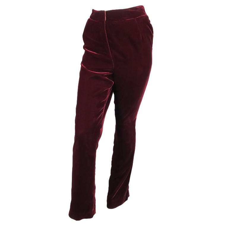 OSCAR DE LA RENTA Size 6 Burgundy Velvet High Rise Dress Pants For Sale