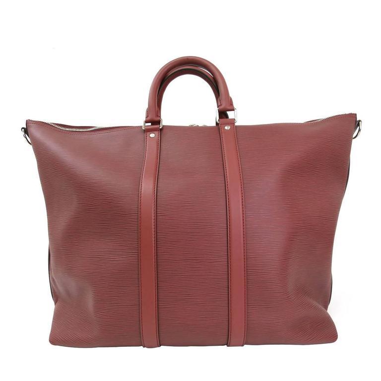 louis vuitton red epi leather silver hardware unisex weekender travel duffle bag at 1stdibs. Black Bedroom Furniture Sets. Home Design Ideas