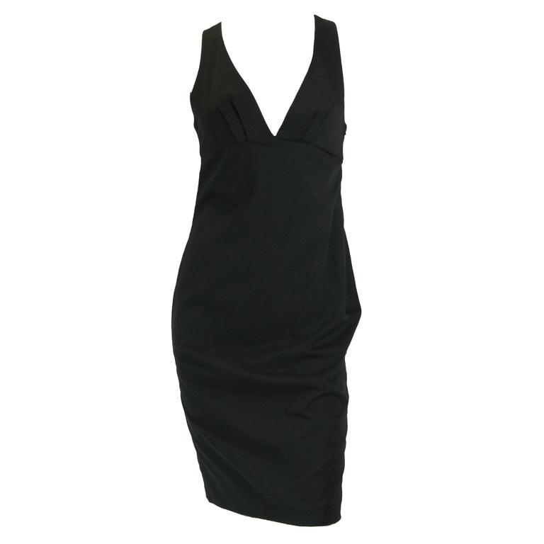 Gucci Black Empire Waist Sleevless BodyCon Dress For Sale