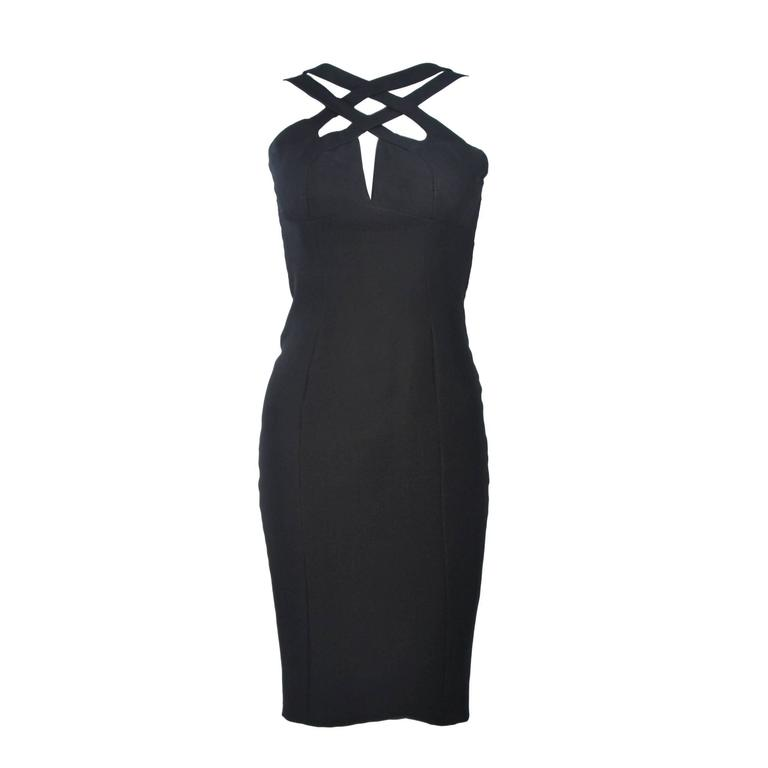 ELIZABETH MASON COUTURE Silk Criss Cross Cocktail Dress Size 2 Made to Measure