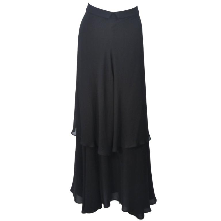 YOHJI YAMAMOTO Black Layered Silk Chiffon Skirt Size 3 For Sale