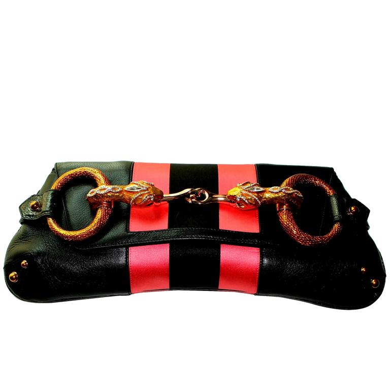 69c84558d30b93 Gucci by Tom Ford Striped Black Lizard Skin Jeweled Snake Horsebit XXL  Clutch For Sale