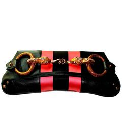 Gucci by Tom Ford Striped Black Lizard Skin Jeweled Snake Horsebit XXL Clutch