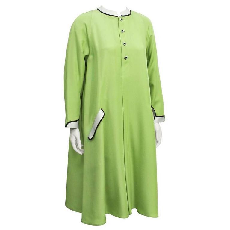 1960's Geoffrey Beene Green Swing Dress
