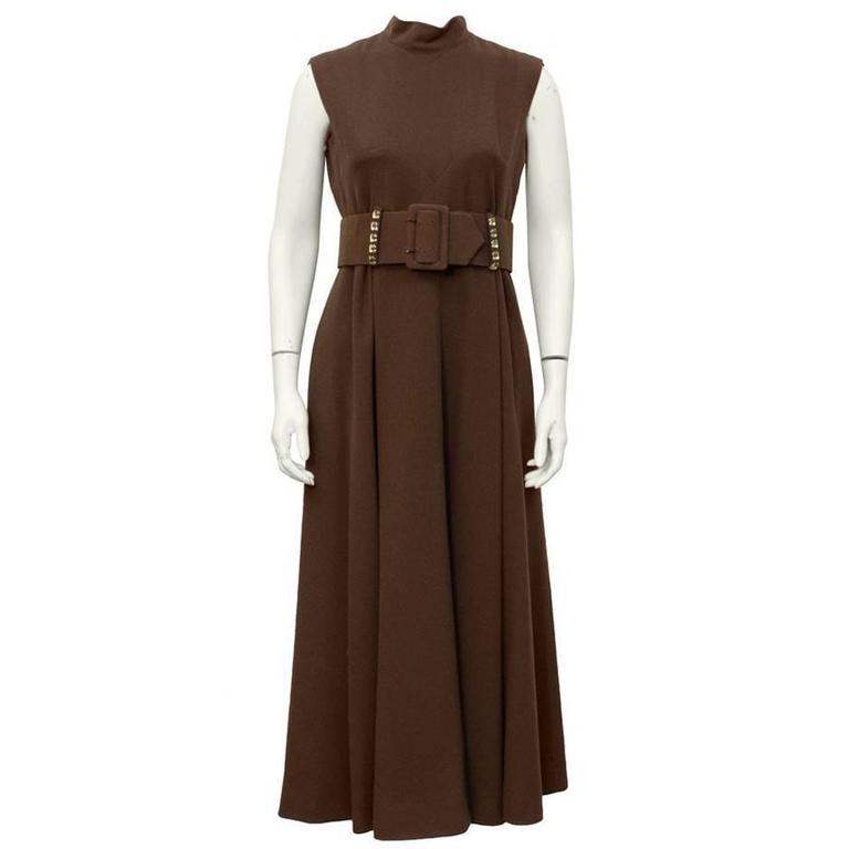 1970's Pauline Trigere Brown Wool Crepe Maxi Dress