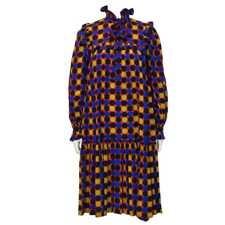 1970's Yves Saint Laurent YSL Silk Polka Dot Smock Dress