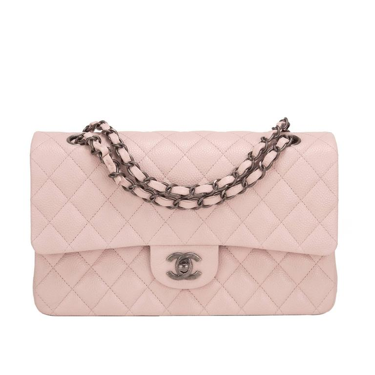 Chanel Light Pink Quilted Caviar Medium Classic Double Flap Bag For Sale