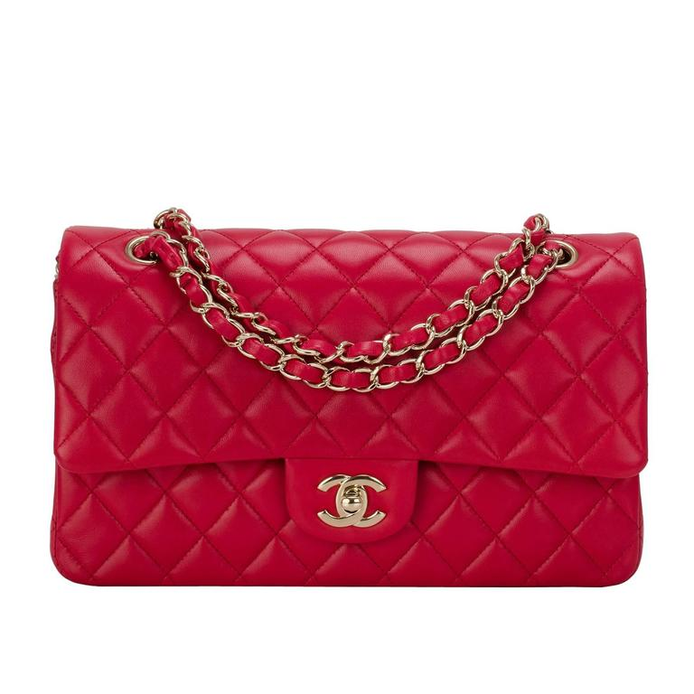 Chanel Red Quilted Lambskin Medium Classic Double Flap Bag For Sale