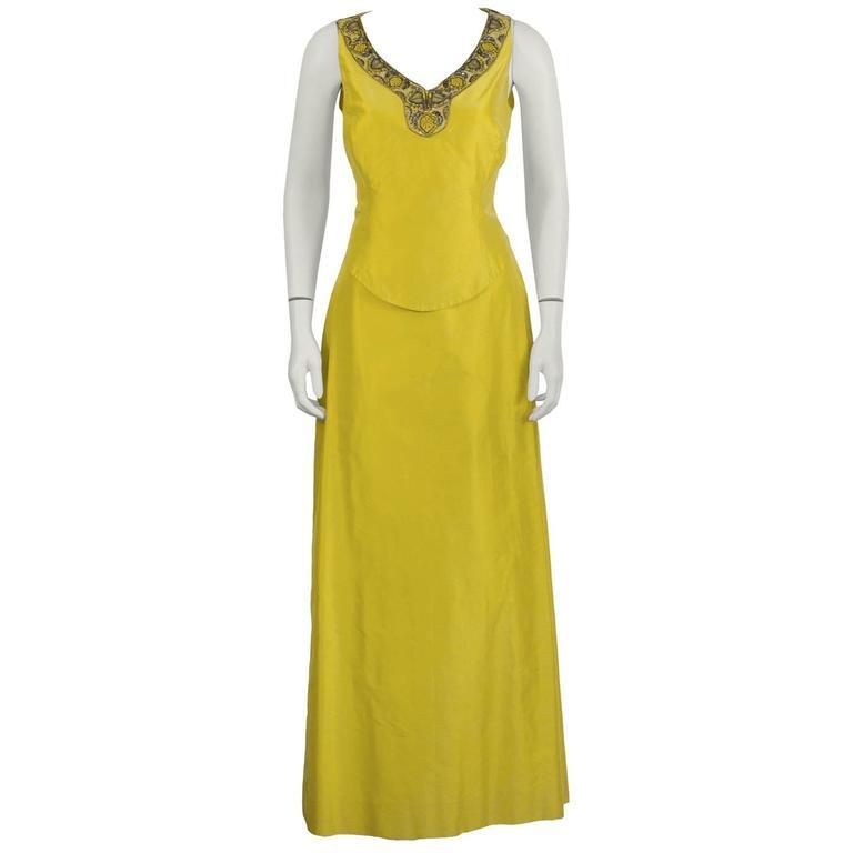 Early 2000's Carolina Herrera Yellow Evening Gown