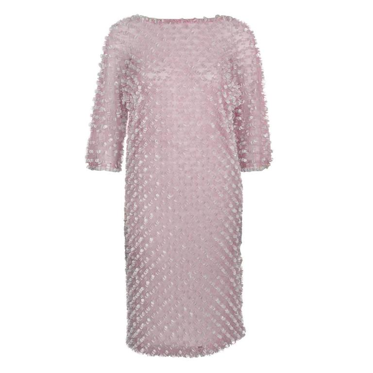 1960's Anonymous Pink Net Pailette Covered Cocktail Dress