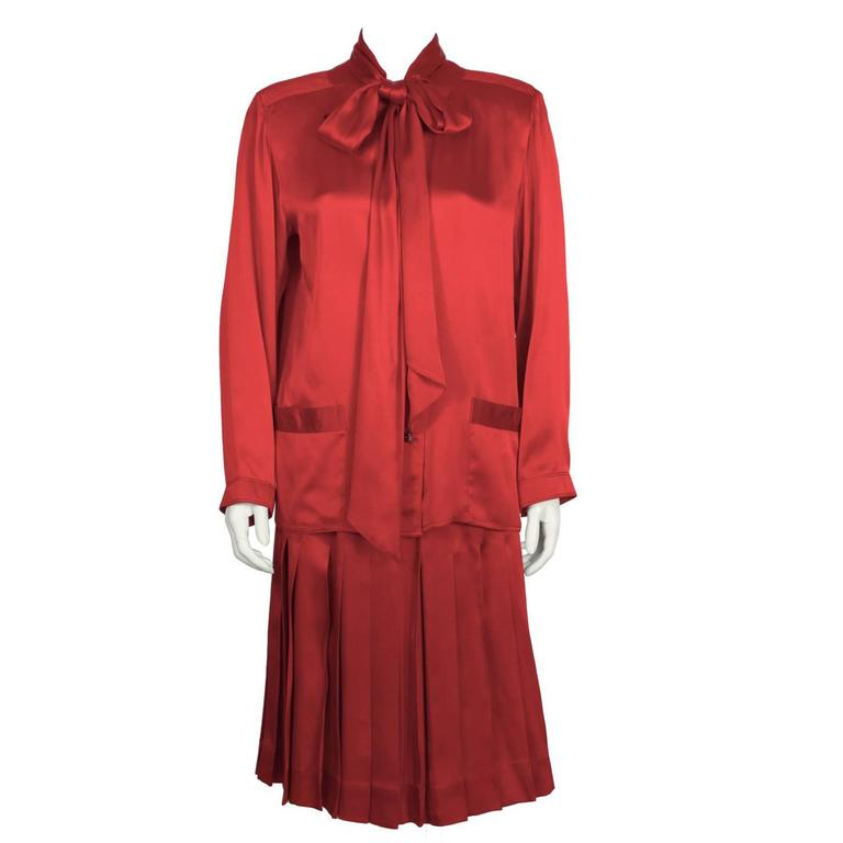 1980's Chanel Red Satin Skirt & Matching Tie Neck Ensemble